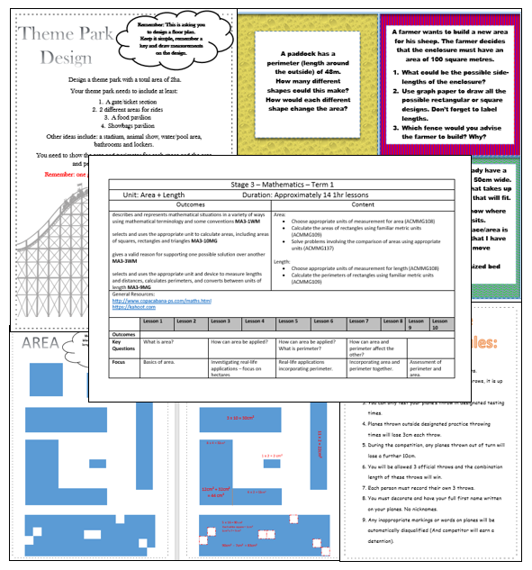 Area and Perimeter - Unit of Work + Worksheets + Activities
