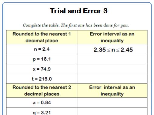Approximation Error 9-1 GCSE Maths Worksheet