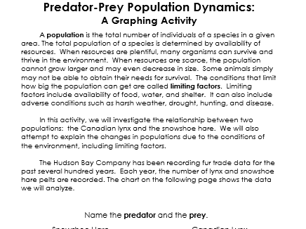 Population Dynamics Predator and Prey Graphing Lab Activity