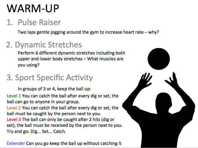 Volleyball - Warm-up resource card