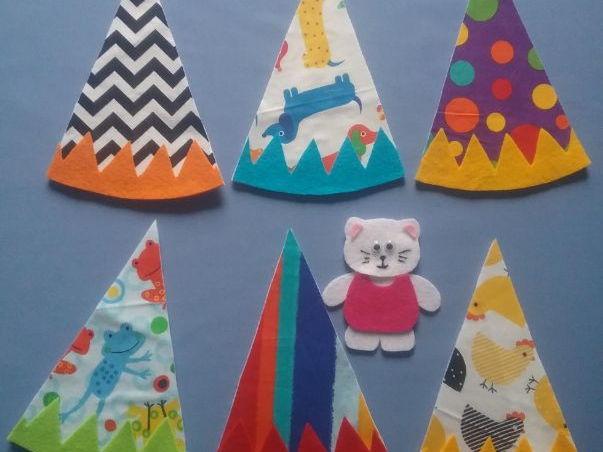 Kitty Cat, Kitty Cat Party Hat Hide and Seek Game Felt Board Set Digital Pattern
