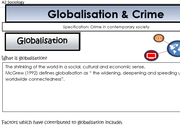 AQA Sociology - Year 2 - Crime & Deviance - Globalisation and crime