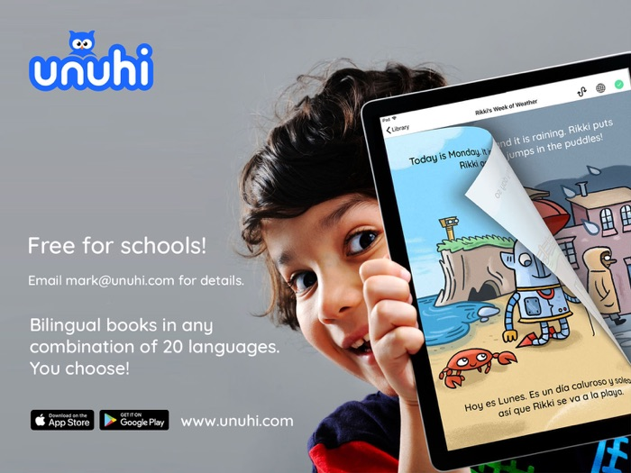 Unuhi: Bilingual Book App For Children. You Choose The Languages - Free For Schools!