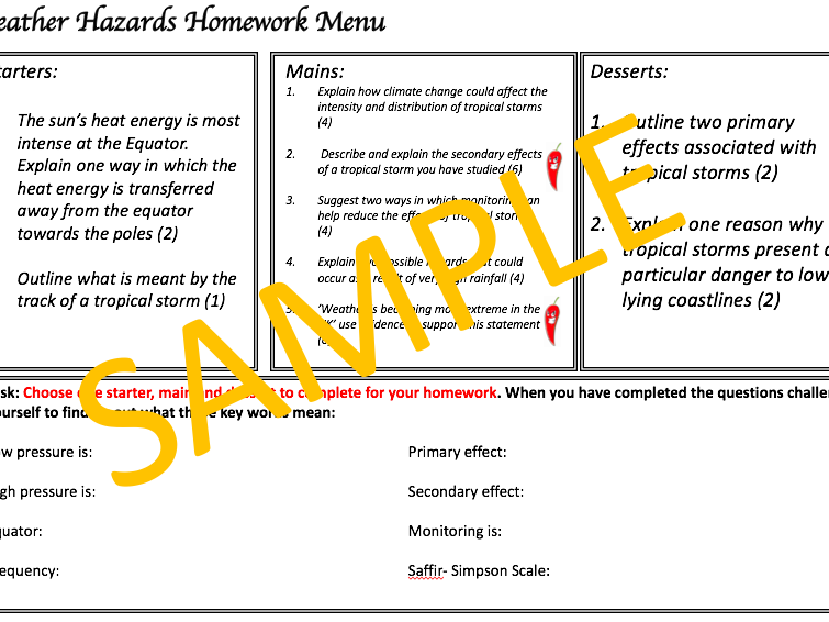 Weather Hazards Homework Menu - AQA 9-1 Geo