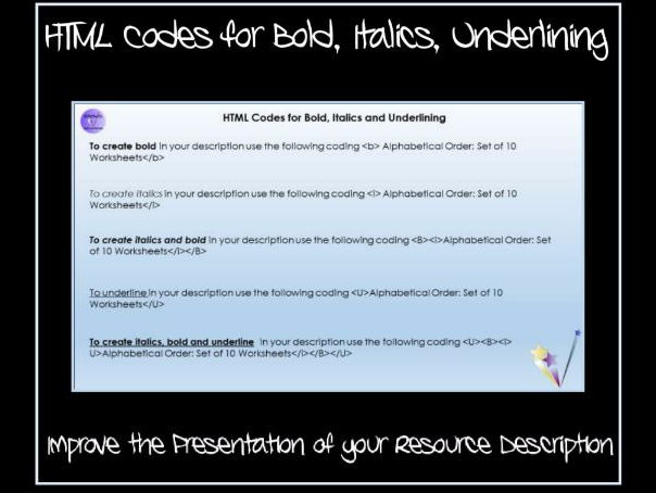 Resource for TES Authors: HTML Codes for Bold, Italics and Underlining in Product Descriptions