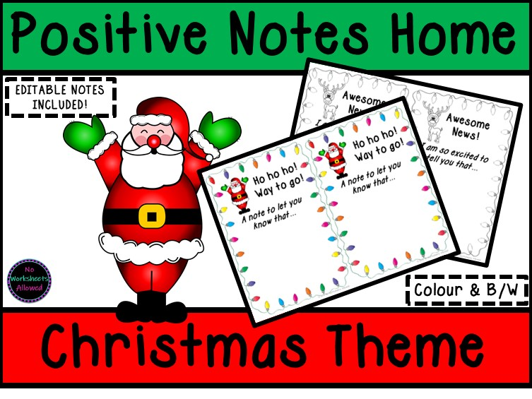 Positive Notes Home to Parents: Christmas Theme