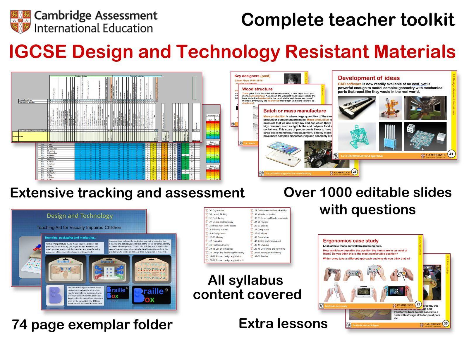 Cambridge IGCSE D&T complete teacher toolkit
