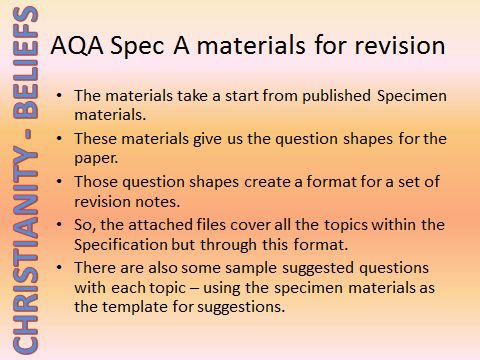 AQA Specification A Christianity - Beliefs - Revision materials
