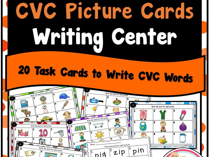 CVC Picture Cards for a Writing Center