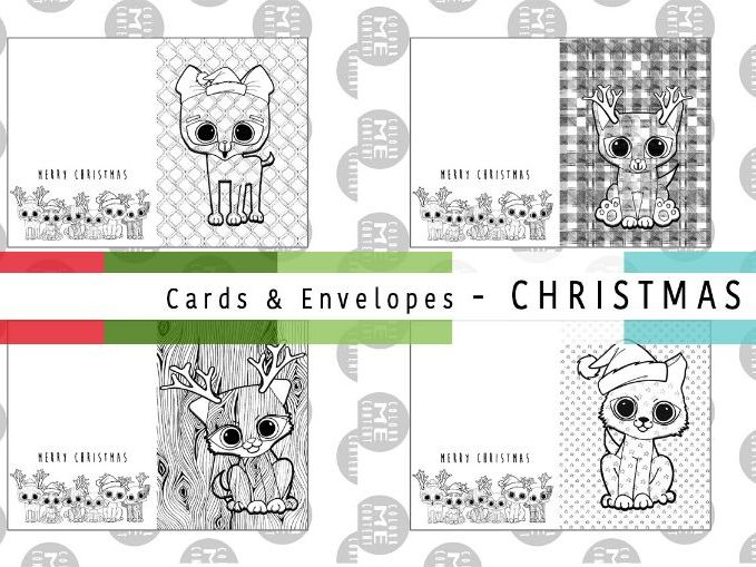 Mindfulness Christmas Colouring Cards & Envelopes | ColourmeContent - SET 2 - Pattern Pups