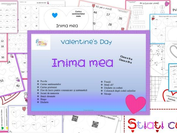Valentine's Day Activities for 2nd and 3rd grade in Romanian language