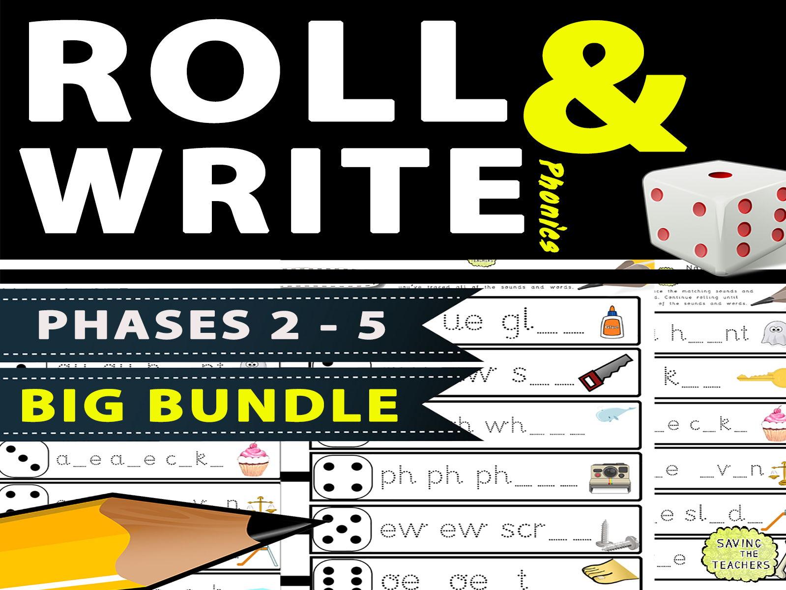 Phase 2 - 5 Phonics Handwriting / Spelling Dice Game BUNDLE