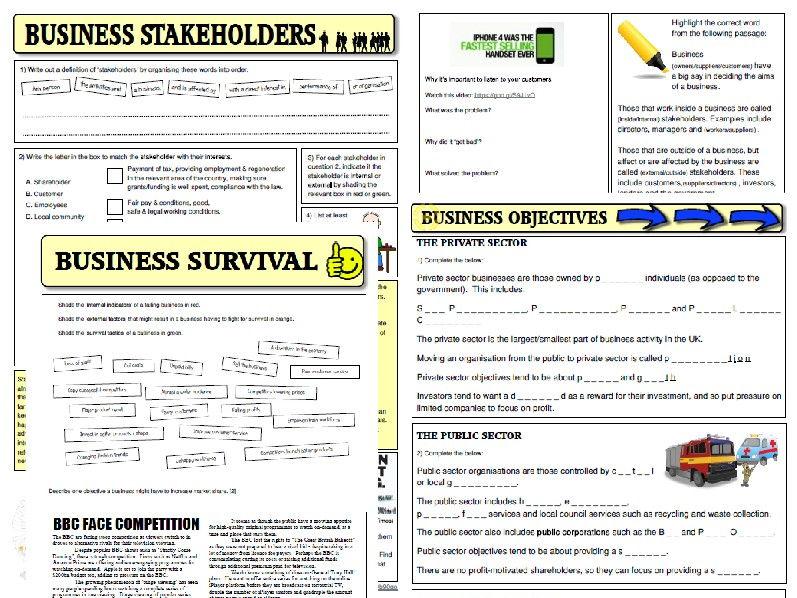 OCR Business Studies 9-1 GCSE Public/Private businesses, Stakeholders, Survival