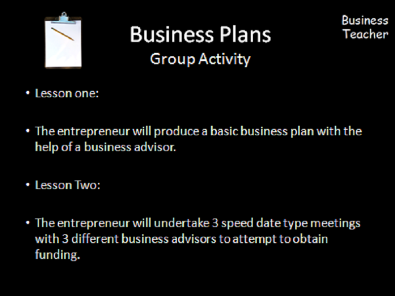 Business Plan Group Activity for GCSE Business Students.