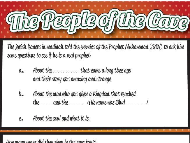 The People of the Cave (As-haab al-Kahf) Worksheet