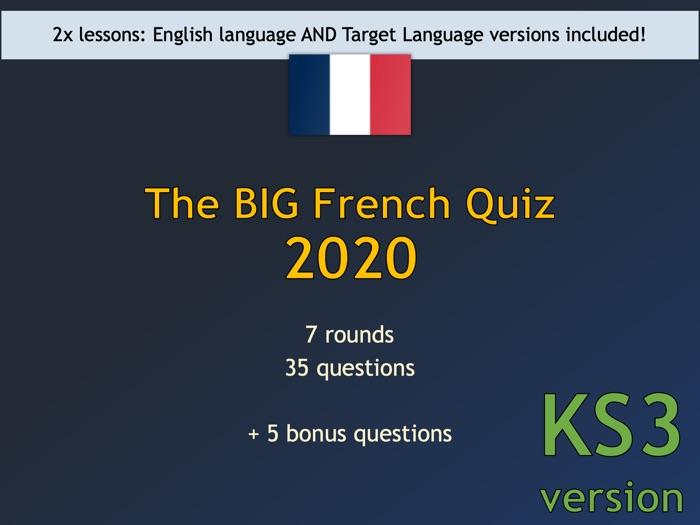 The BIG French Quiz 2020 (KS3 version)