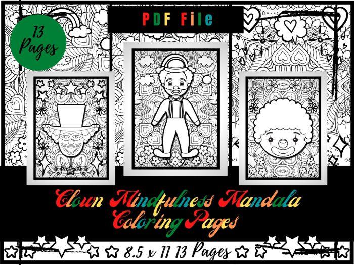 Clown Mindfulness Mandala Colouring Pages, Clown Printable Colouring Sheets PDF