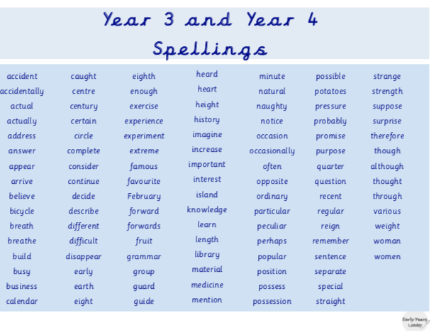 Year 3 and 4 Statutory Spellings