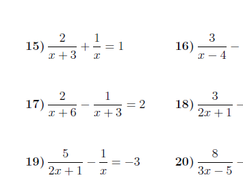 Adding algebraic fractions and solving equations with algebraic fractions worksheets (with solutions)