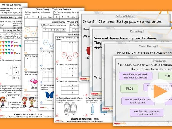Year 5 Add and Subtract Wholes and Decimals Summer Block 1 Lesson Pack