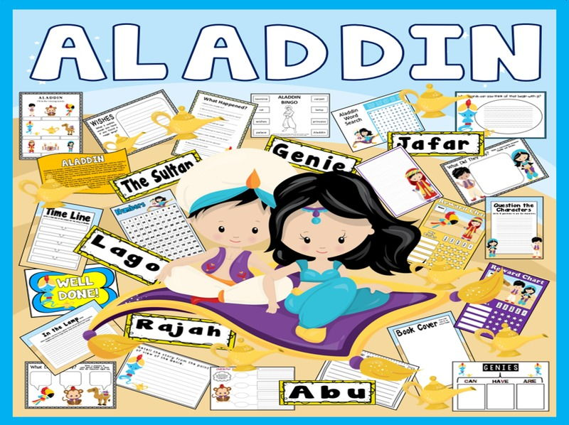 ALADDIN STORY TEACHING RESOURCES EYFS KS1-2 ENGLISH LITERACY GENIE LAMP
