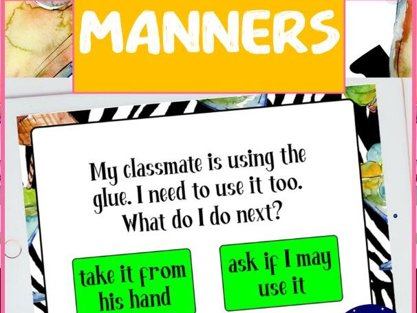 Manners Booklets and BOOM cards Distance Learning