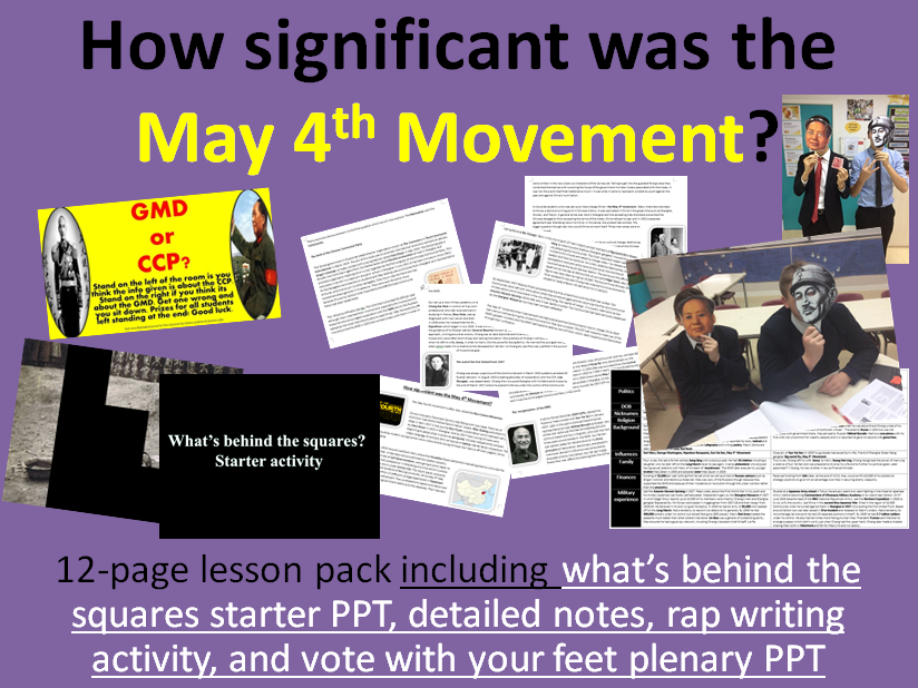 May 4th Movement - 12-page full lesson (starter PPT, notes, rap writing task, plenary PPT)