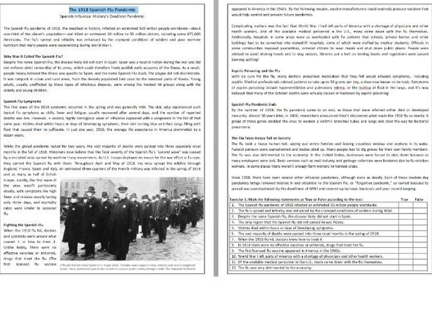 The 1918 Spanish Flu Pandemic - Reading Comprehension Informational Text  Teaching Resources