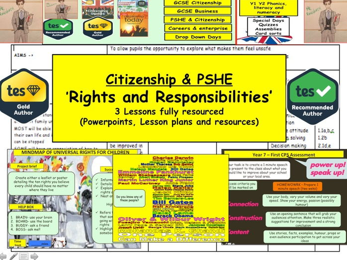Rights and Responsibilities - Human rights: Citizenship & PSHE