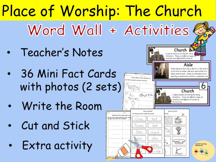 Church Features Word Wall Cards Vocabulary and Worksheets Cut and Paste Write the Room