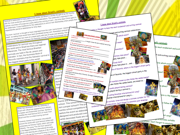 Carnivals of Brazil Comprehension Activity