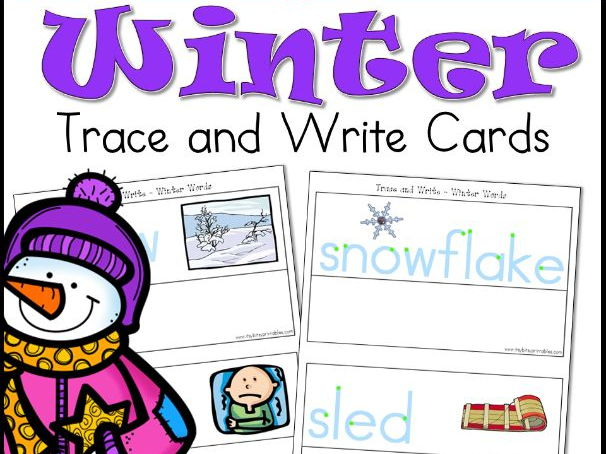 Winter Literacy PreK Trace and Write Activity Cards (USA Edition)
