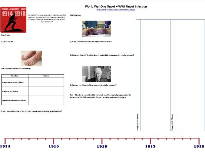 world war one uncut – why trenches? - worksheet to support the bbc video by  awithey | teaching resources