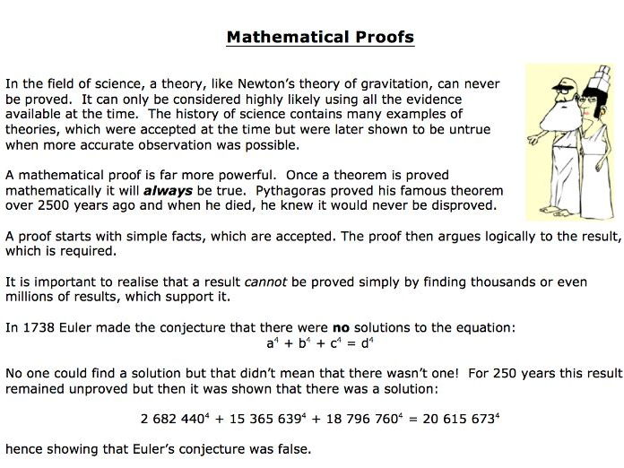 A brief introduction to mathematical proofs
