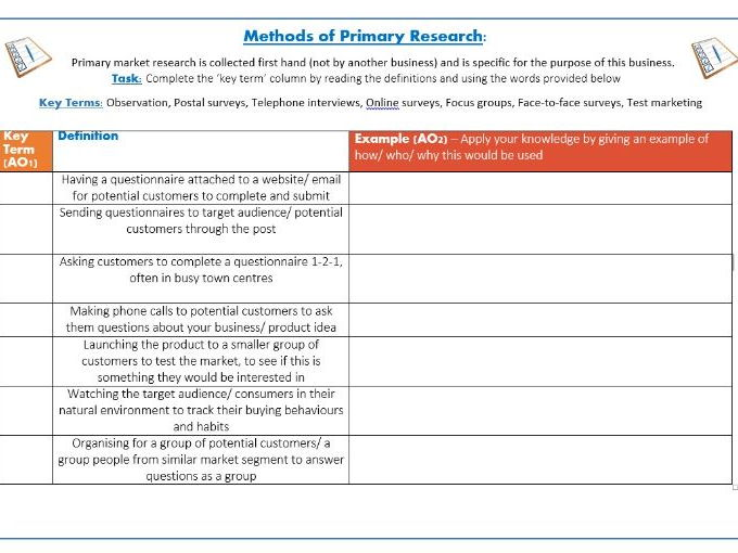 primary research business When conducting primary market research when conducting primary research using your own resources used mostly by big business.