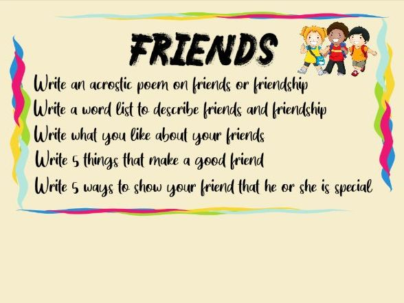 Friends and Friendship Poetry and Written Work KS1