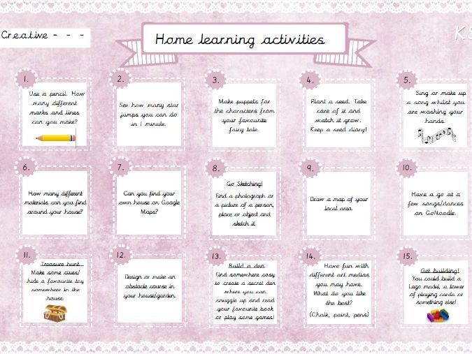 Home Learning Activities - Creative