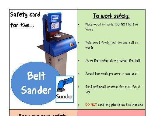 Safety Cards for workshop machines (SEND friendly)