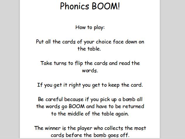 Split vowel digraph game..phonic BOOM!