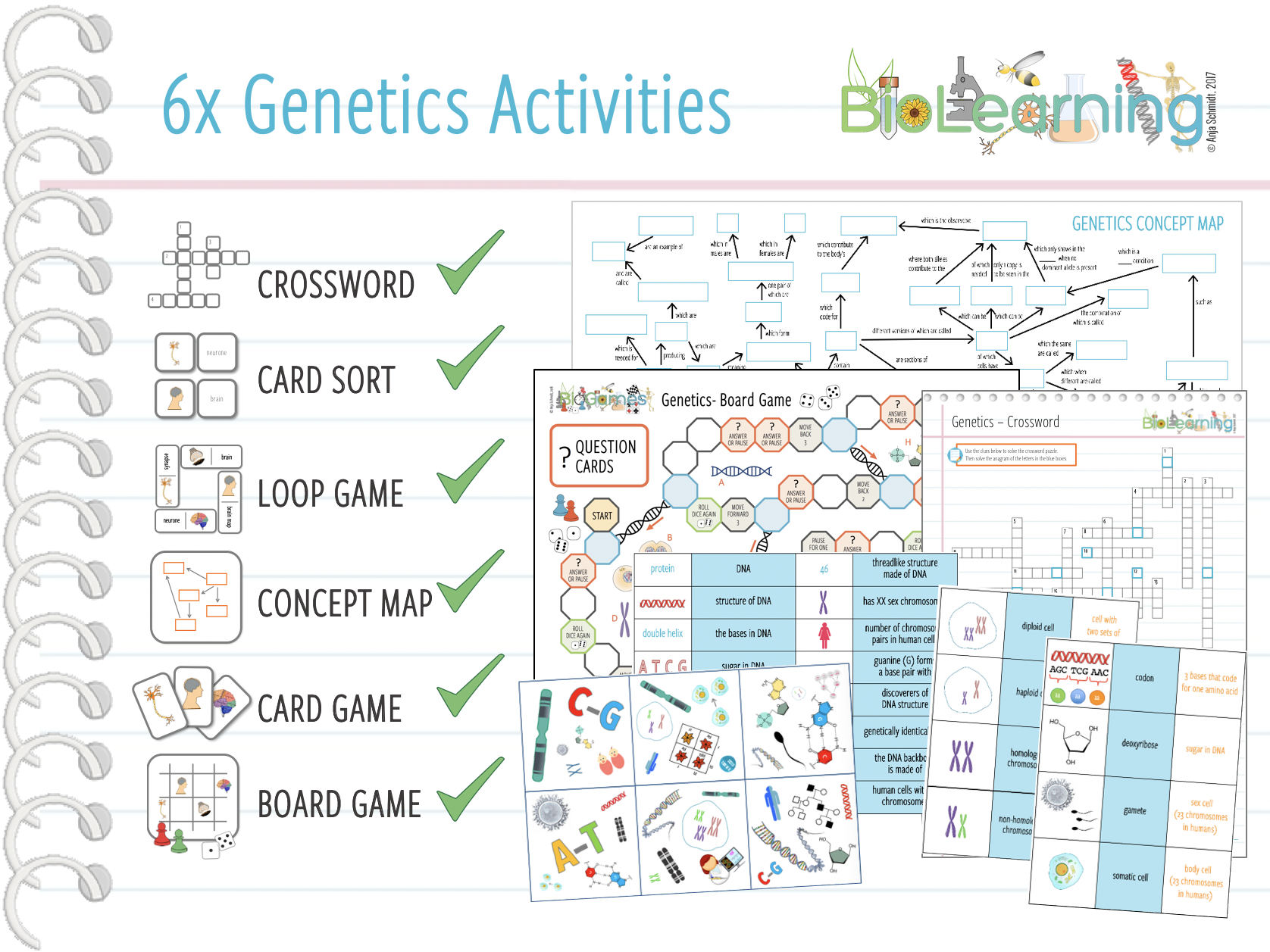 Genetics  - 6x Activities (Concept map, Loop game,  Card sort, Crossword, Card game, Board Game)