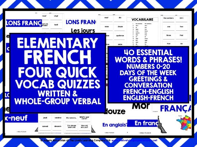 ELEMENTARY FRENCH VOCAB QUIZZES 1