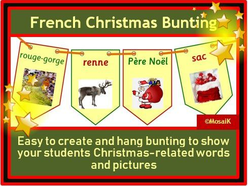 French, en français : 20 flags for Christmas bunting