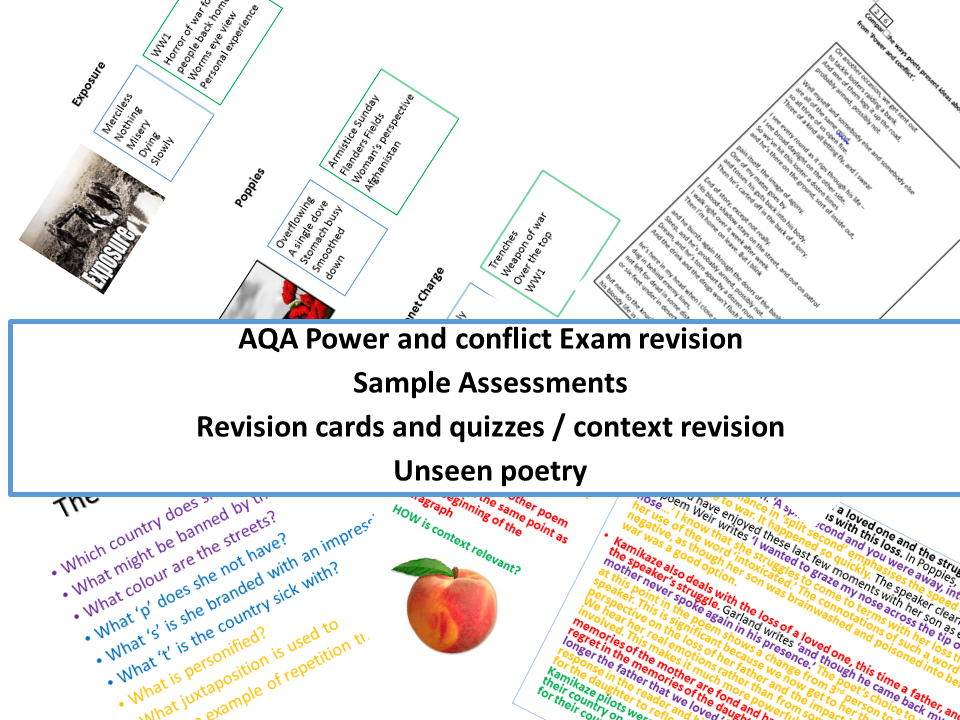 AQA power and conflict exam revision bundle with sameple assessment materials including unseen poetry