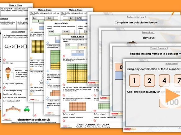 FREE Year 4 Make a Whole Summer Block 1 Step 1 Maths Lesson Pack