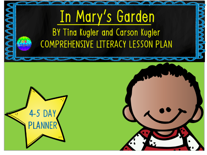 In Mary's Garden by Tina and Carson Kugler 4-5 Day Lesson Plan and Activities