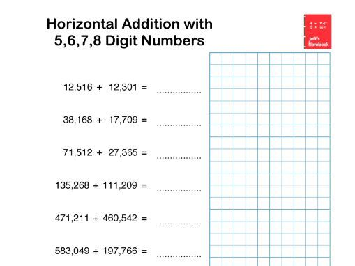 Addition and Subtraction of 5 to 8 digit numbers