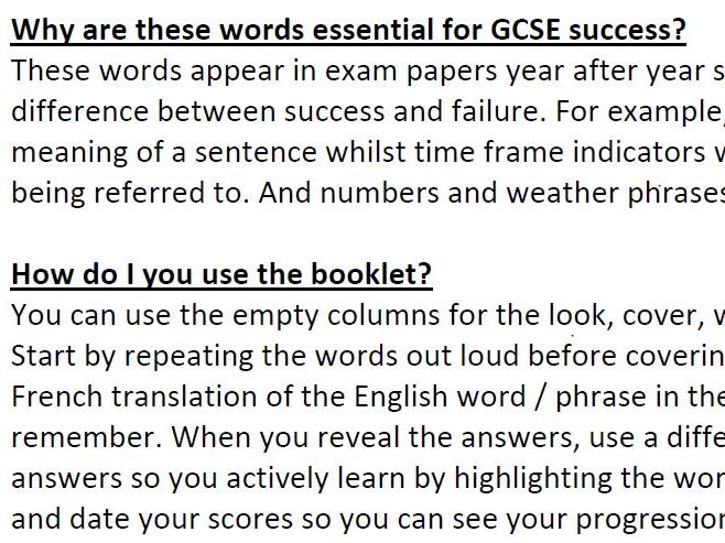 French and Spanish GCSE Essentials Booklets with interactive lessons