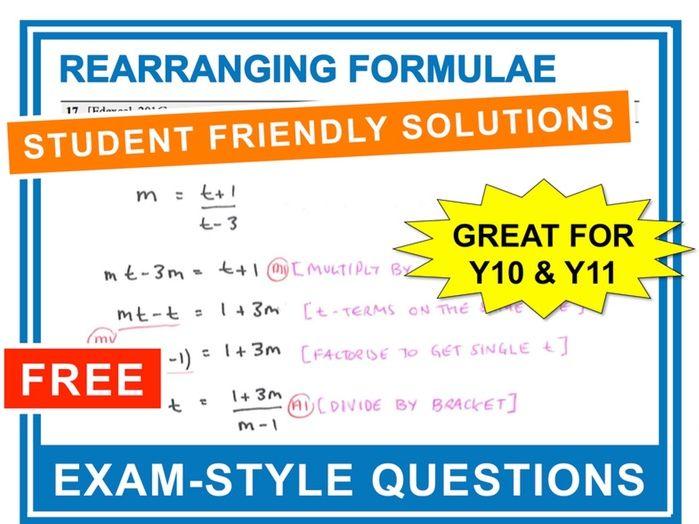 GCSE 9-1 Exam Question Practice (Rearranging Formulae)