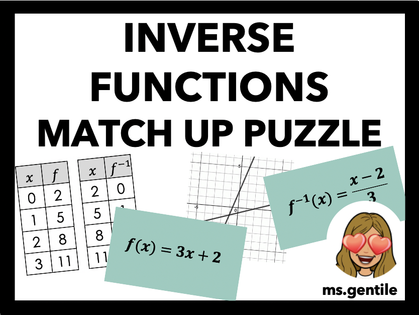 Inverse Functions Match Up Card Puzzle