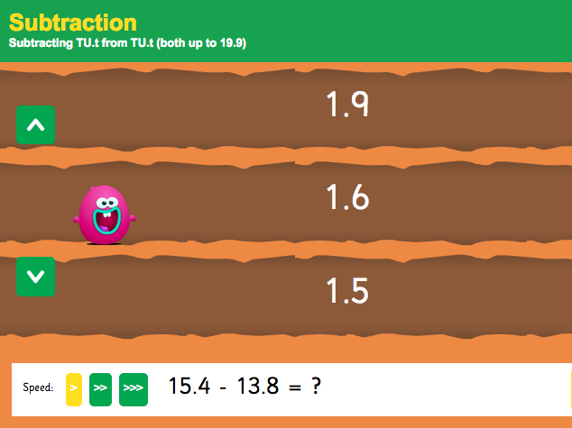 Subtracting with Decimals: Tenths - Interactive Game 6 - KS2 Number